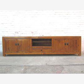 China on wide TV dresser Lowboard Flat Panel antique look vintage wooden honey brown