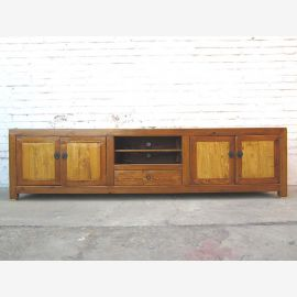 Asia large TV dresser Lowboard for flat two tone light brown vintage wood
