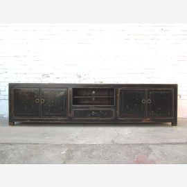 China 2m wide TV dresser Lowboard Flat Panel antique white lacquer solid wood
