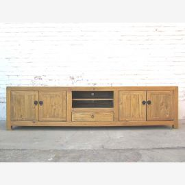 Asia very large TV dresser Lowboard for flatscreen antique vintage light wood cottage style