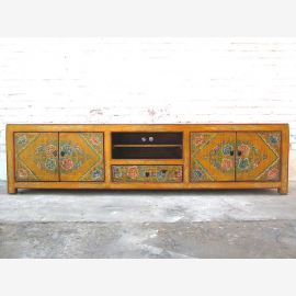 China wide Lowboard TV dresser folkloric painted pine