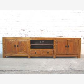 Asia TV dresser Lowboard Flat Panel honey brown vintage wooden cottage style