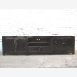China TV colonial style chest Lowboard Flat Panel vintage lacquer black wood