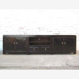 Asia TV dresser Lowboard Flat Panel Antique wooden black vintage look