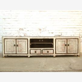 Asia TV dresser Lowboard Flat Panel antique white vintage style solid wood