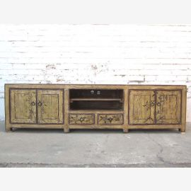 China large TV dresser Lowboard Flat Panel antique look vintage wood finish