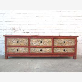 China TV dresser Lowboard antique brown Flat Panel corpus six brightly painted drawers