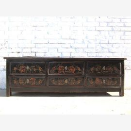 Asia glossy black TV dresser Lowboard Flat Panel classic handpainted hardwood