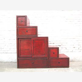China stages dresser drawers used on both sides brown red pine