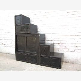 Asia small dresser drawers stairs colonial style black lacquer