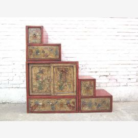 China small steps dresser drawers colorful floral painting