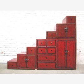 Asia Stairs Chest stages cupboard under slopes classic maroon wood used heavy optic