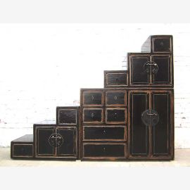 China stepped Chest stairs cupboard vintage under slants wooden black lacquer