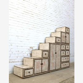 Asia China Staircase Chest of drawers Antique-White