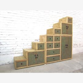 Asia under sloping stairs Chest stages cabinet Lime Green Front lighter body hardwood