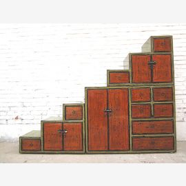 Staircase Chest of drawers Green Orange 180 cm long