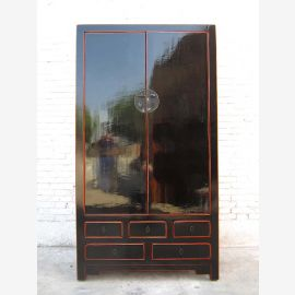 China cabinet Anti clack black traditional pinewood by Luxurypark