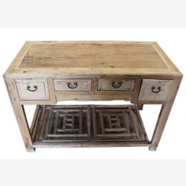 China natural colors around 1930 typical desk 4 drawers elm