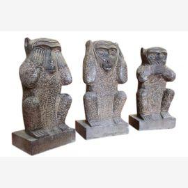China 3 three monkeys sculpture granite sculptures 70 - 80J