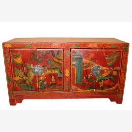 China 1940 low chest dresser in traditional painting
