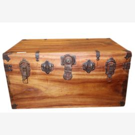 China 1920 Massive rustic heavy wooden chest fittings without key
