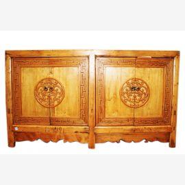 China 1910 wide dresser credenza sideboard natural wood