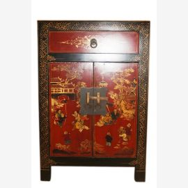 China 1950 small painted chest of drawers bedside cabinet doors with classic
