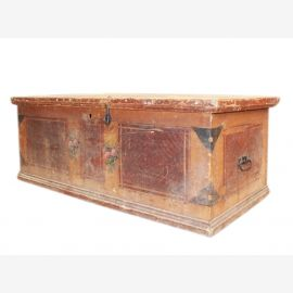 Bulgaria 1940 hope chest flat bench rustic painting