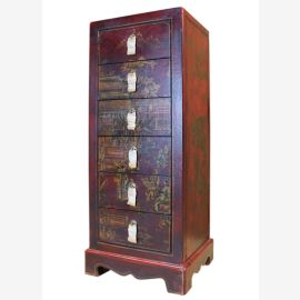 China small drawer tower cabinet with six drawers collectors classic painting