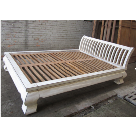 Asia flat double bed antique white vintage stylish wooden 222x179x35cm