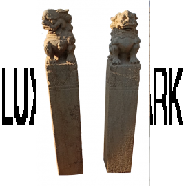 Fu Dog temple lion pair marble on column sculptural work