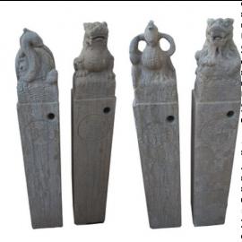 Fu Dog Quadriga Myths Figures Sandstone on column Sculpture