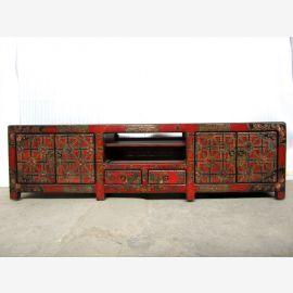 Tibet Asia Lowboard colorful motif painting unique specimen