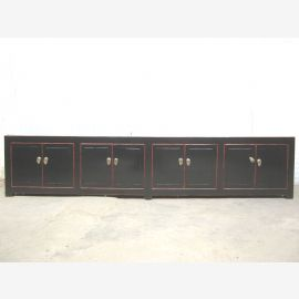 XXL China Lowboard Massiv black hinged doors