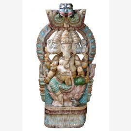 Powerful wooden sculpture great portrait of the elephant god Ganesha