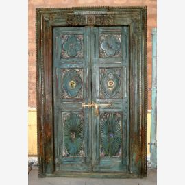 Solid wood door from India bluish with carvings