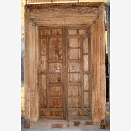 Used-Look solid wood door from India with carvings