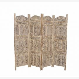 Indian folding screen room divider partition filigree carved from solid wood