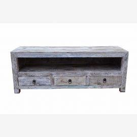 Shabby chic TV shelf for flat screen Rajasthan India Wood D ED 11-37