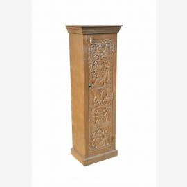 fine art INDIA tall cabinet armoire w Ganesha carving on natural wood D ED 11-52