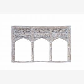 India wide window frames three arches carved wood for installation