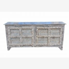 India delicately painted long sideboard dresser floral motifs on Pine