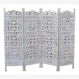 India folding screen room divider vierflüglig light stained wood carvings rich