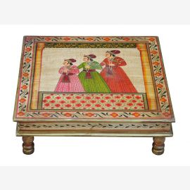 India Bajot flat table, square classical palace scene solid wood