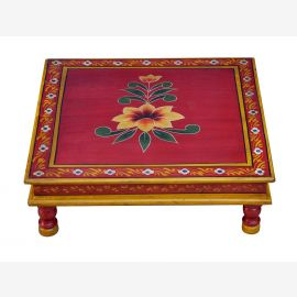 India flat table, square Bajot floral motif solid wood by Luxury-Park