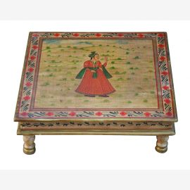 India low table Bajot square fine painted wood of Luxury-Park