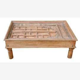 India typically low table coffee table carved interesting surface structure