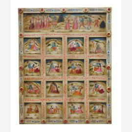 India carved mural cassette panel in delicate colors deities