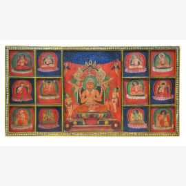 India ancient mural wood with magnificent paintings of traditional motifs