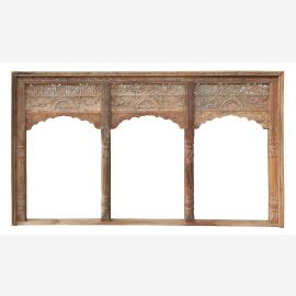 India frame triple bow for indoor installation richly carved solid wood